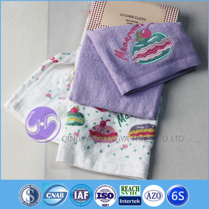 wholesale embroidery design terry cloth cotton printed kids kitchen hand towel