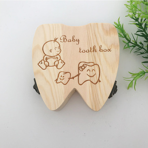 wooden children baby first tooth & curl saving boxes