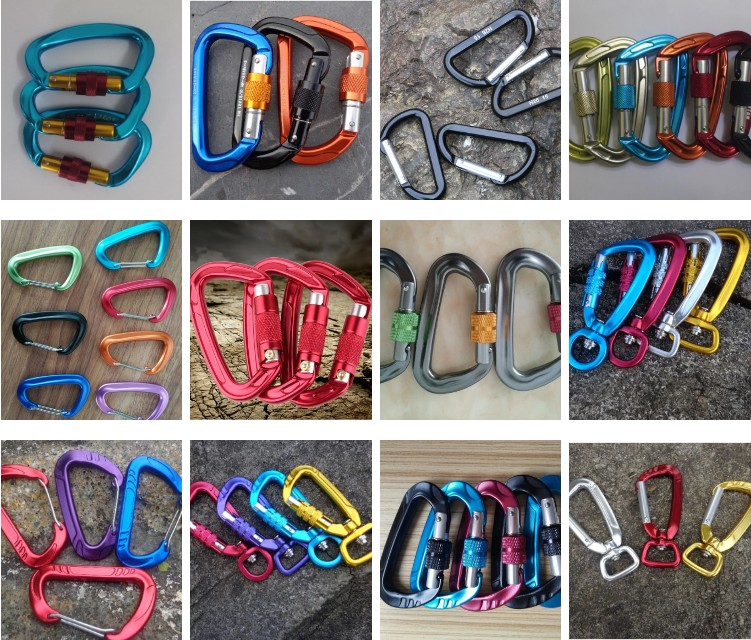 Feistel Factory Wholesale 25KN Locking carabiner d shape large carabiner, Heavy duty carabiner wholesale