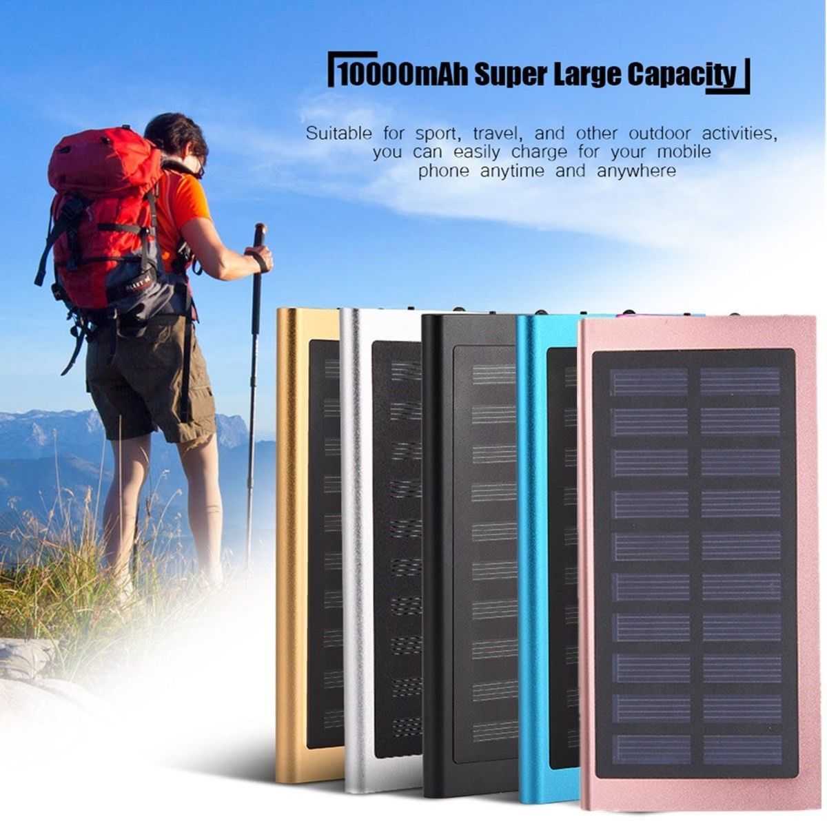 8000mAh Portable Dual USB Battery portable lightweight power bank mobile phone solar charger