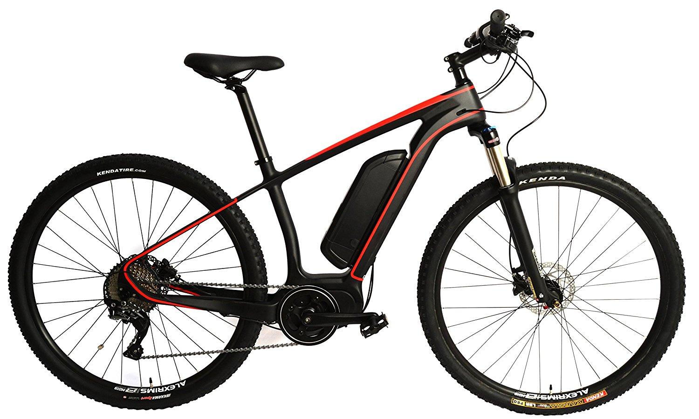 Carbon Fiber 29er MTB EBike Electric Bike E-Bike Bicycle Disc Hardtail. Red 250w Direct Drive Motor. 36v 12ah Li-Po Battery. Shimano SLX 11 Speed.