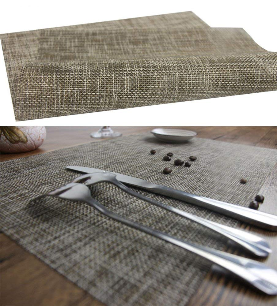 Colorful Mesh Fresh Green Purple Gold Spring Dining Table Mat Kitchen Large Woven Plastic Rectangular Placemats Plate Non Slip Wipeable Washable PVC Wine Food Folding Mat for Men (Linen White Gold)