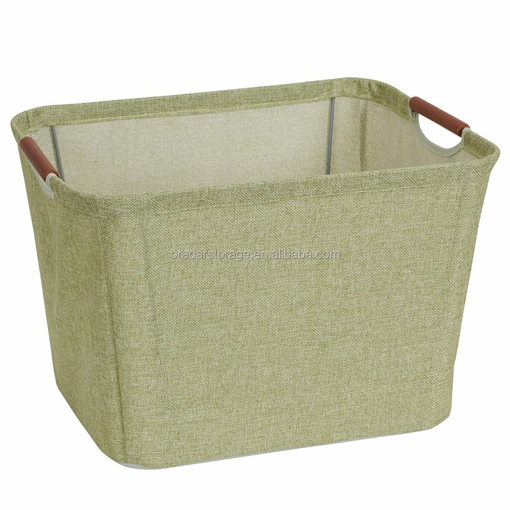 Household essentials medium tapered soft-side storage bin with wood handles