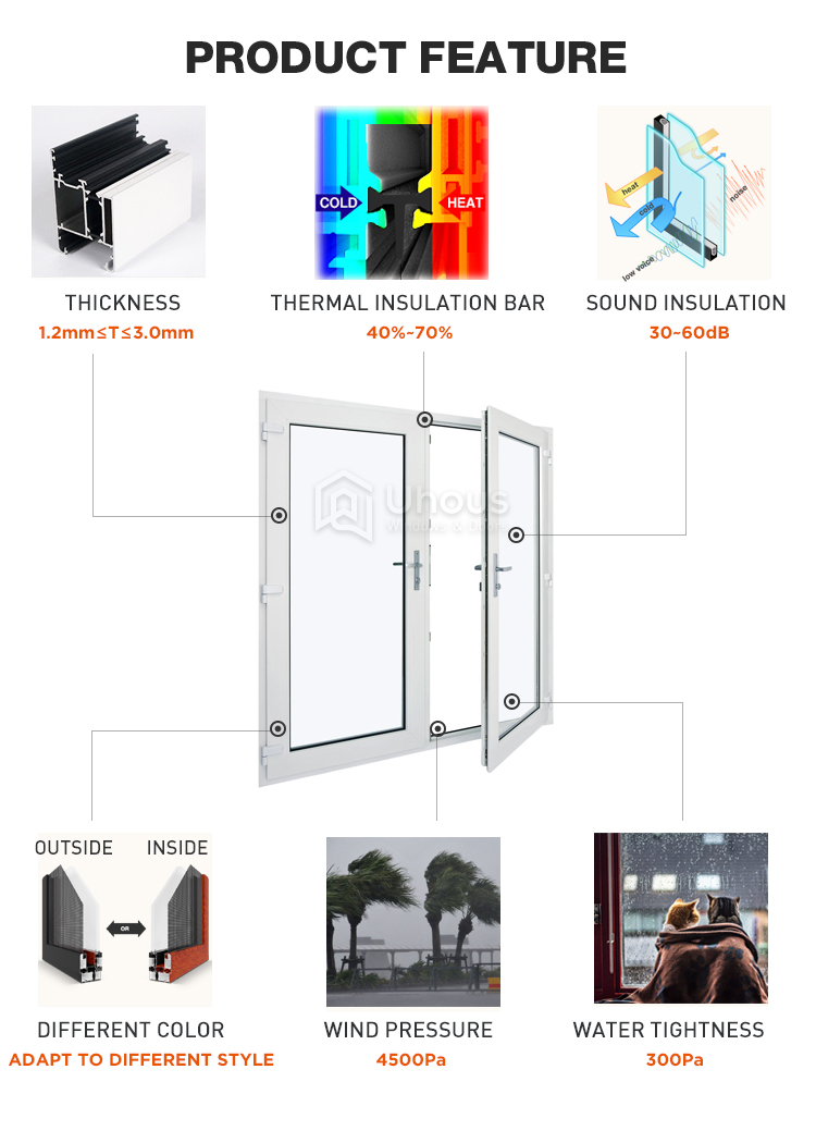 New products bulk buying aluminum french door/hinges door
