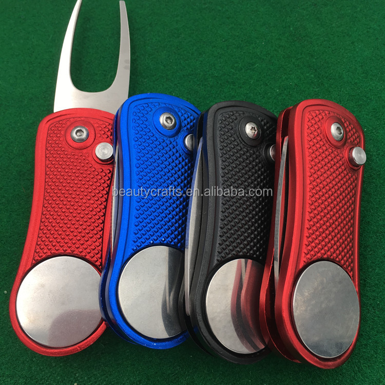 personalized assorted color switchblade Action metal golf divot tool