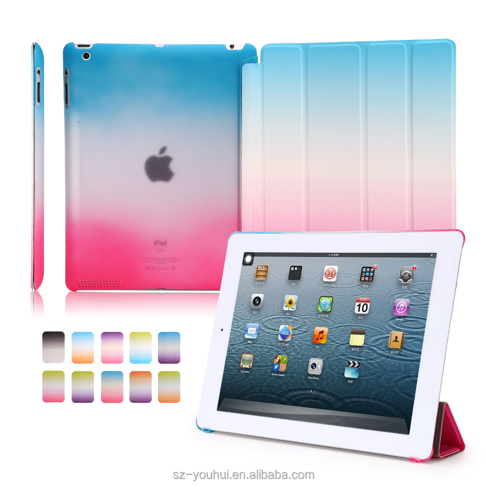 High Quality 10 Colors Flip Cover for iPad 2/3/4 Ultra Slim Smart Magnetic Case Rainbow Color