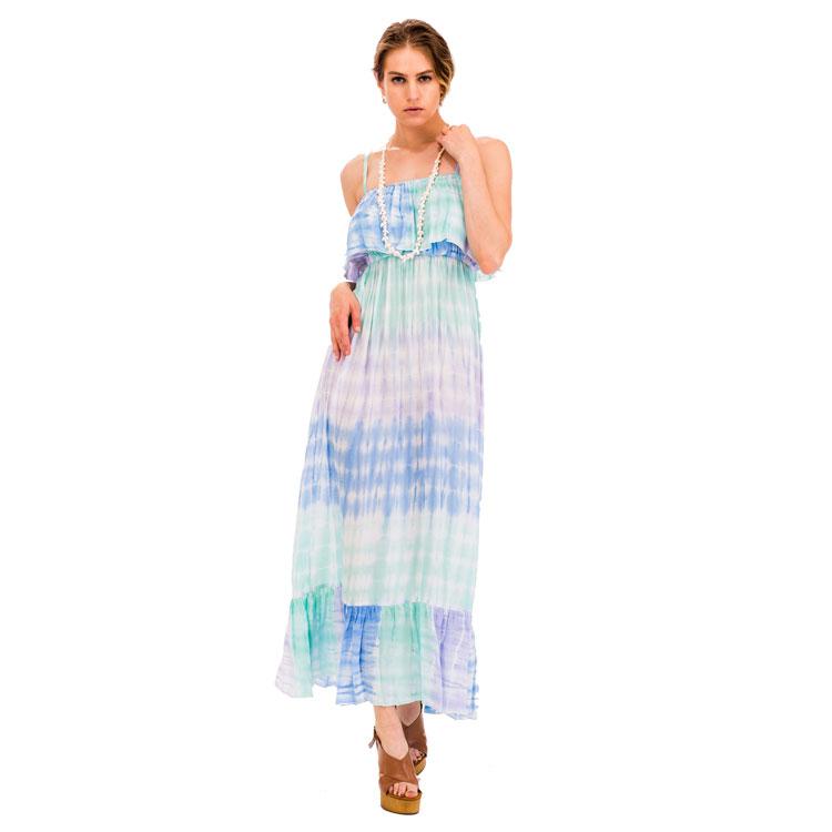 लांग महिला स्कर्ट समुद्र तट बिकनी कवर अप के कपड़ा sundress टाई डाई मैक्सी ड्रेस