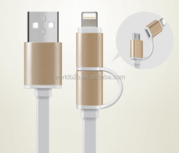 New design fast data transmission cable 2 in 1 usb cable for android and apple, new usb cable