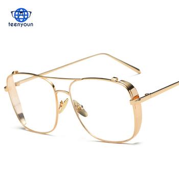 90a01c40fb 3 Colors Women Punk Plain Glasses Frame Brand Designer Fashion Men Metal Frame  Clear Lens Retro
