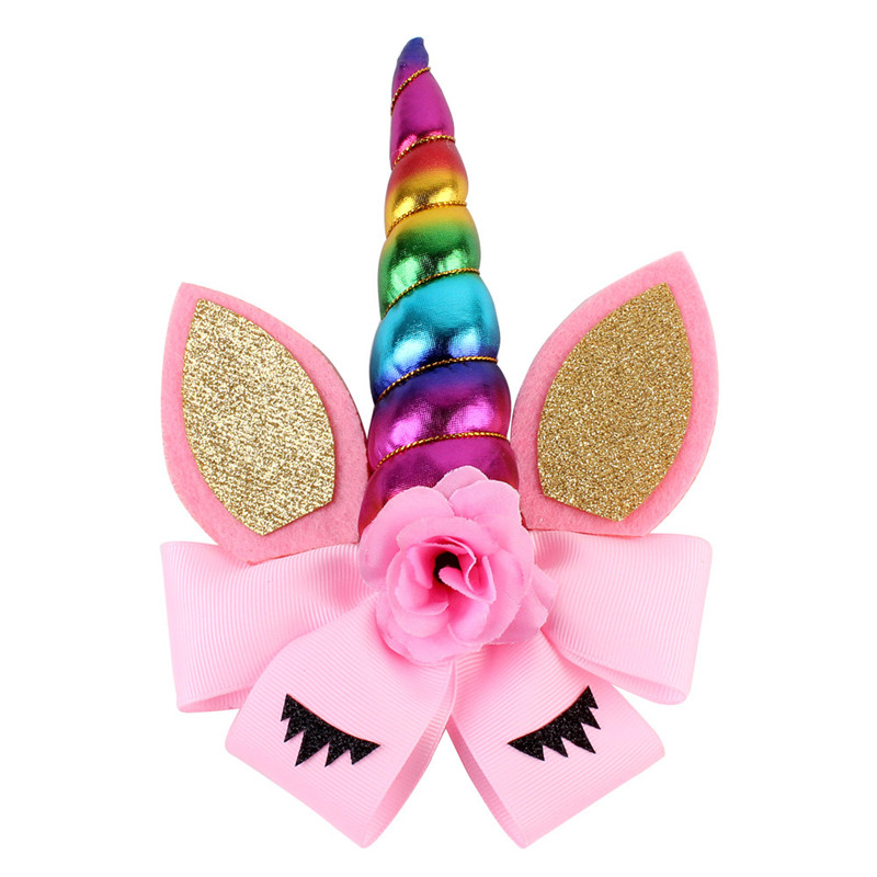 2018 New Party Supplies Kids Flower Cat Ears Unicorn Hairpin With Horns for Birthday Halloween