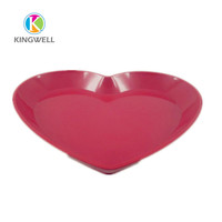 Good quality cheap red different heart shaped melamine standard dinner plate size