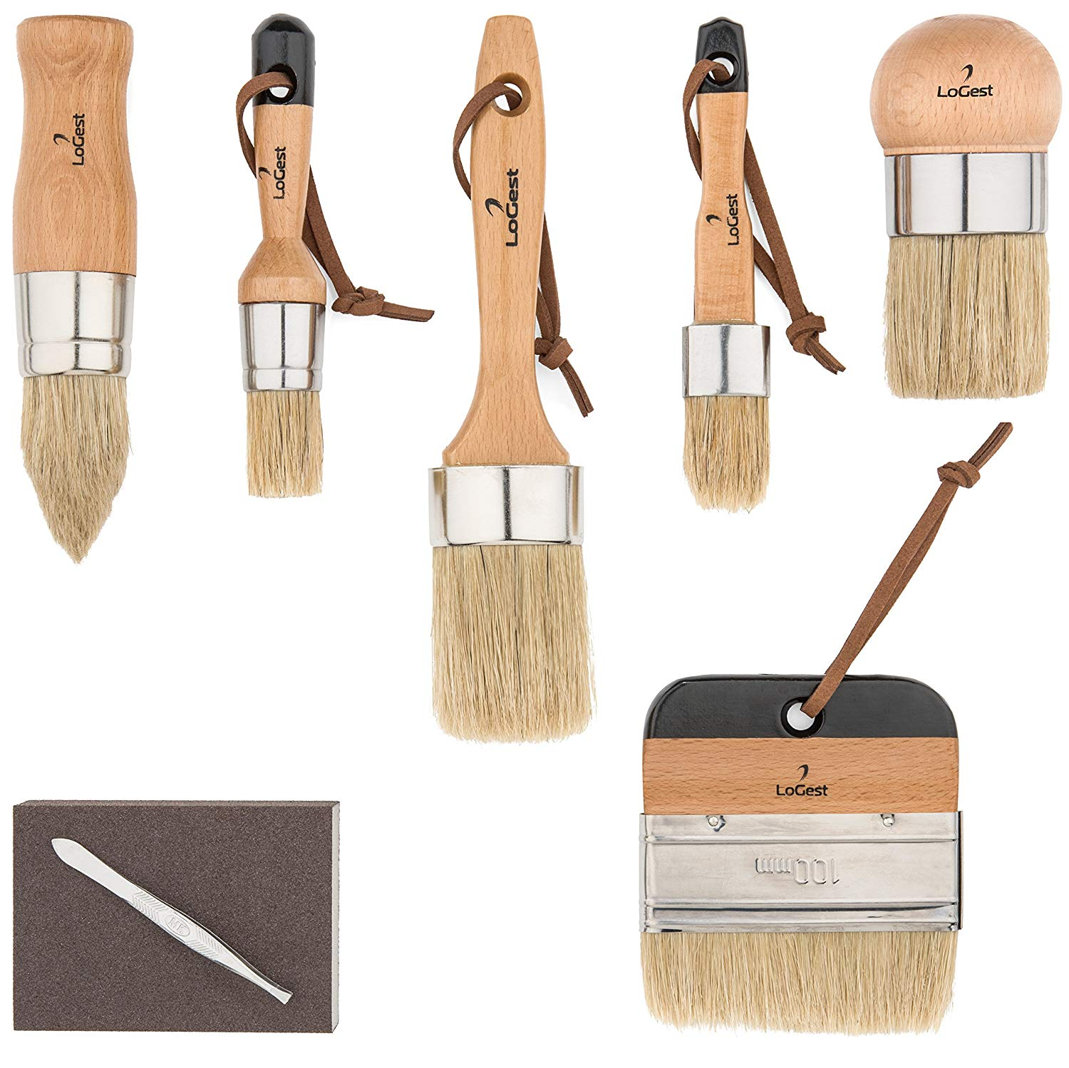 Pro 6 Chalk Paint Brush Set for Artist - Chalk,Waxing,Milk Paint Brush Set - Premium Thick Natural Boar Bristles Hair - Annie Sloan Quality - Sanding Pad & Bristle Remover Included - by LoGest