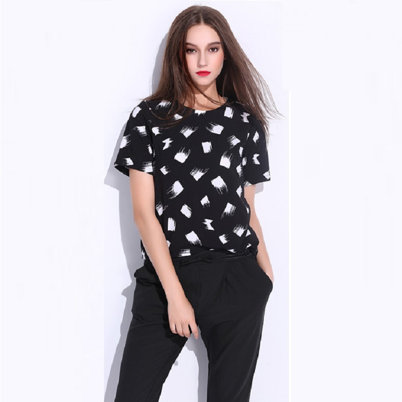 Print Comet Shirt Plus Size Women Chiffon Shirt 2015 Summer New Fashion Turtleneck Button on Back Loose Casual Shirt 5XL 6XL 7XL