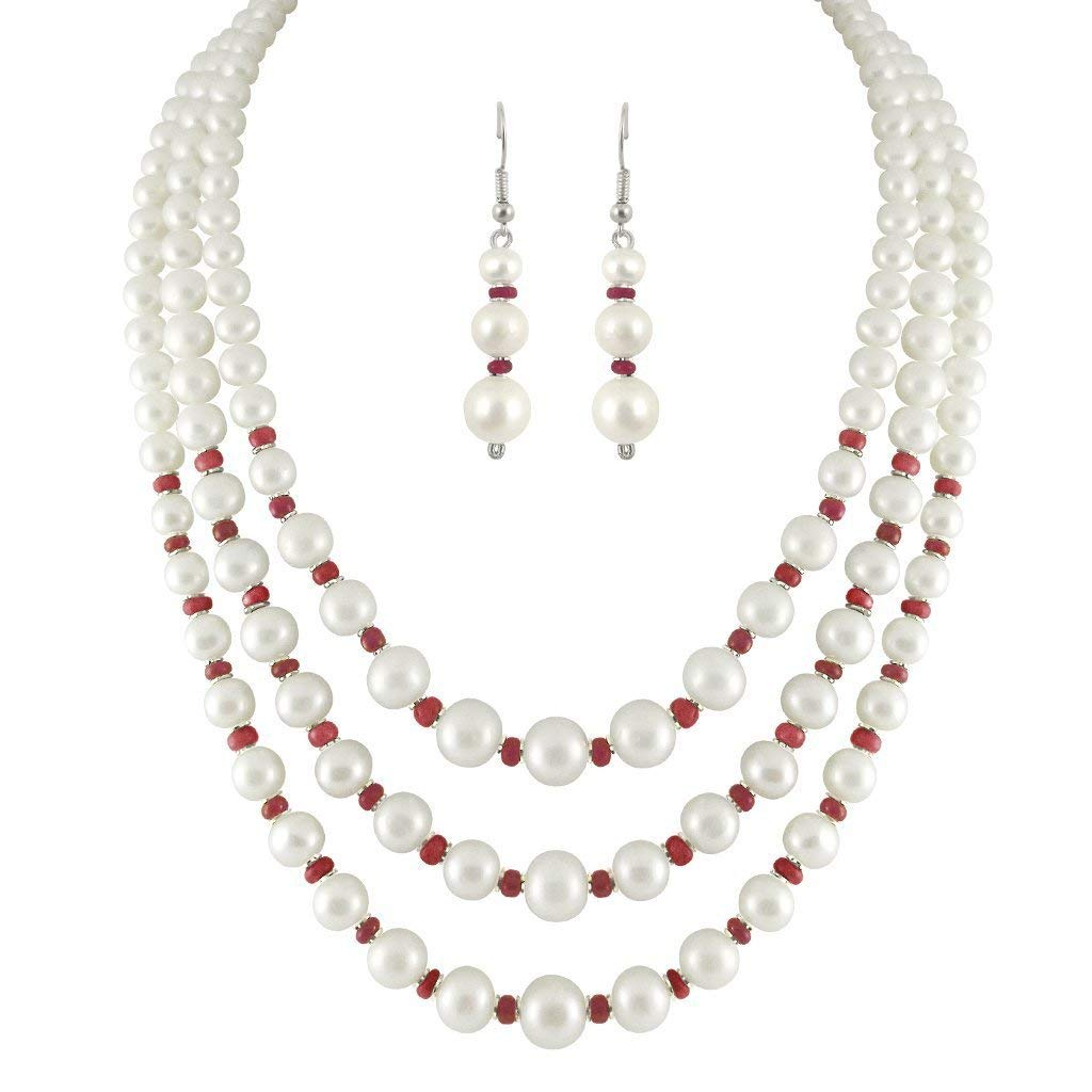 ff6242f496b Get Quotations · Trendy Souk Women s Luxuriant 3 Strings Real Fresh Water  Hyderabadi Pearls With Red Beads Aaa Quality