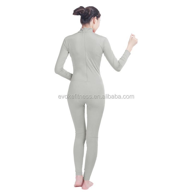 Light Gray Boat Neck Adult Full Body Without Hand/Feet Ballet Unitard/Dance Costume/ Gymnastics Leotard/Cosplay Wear