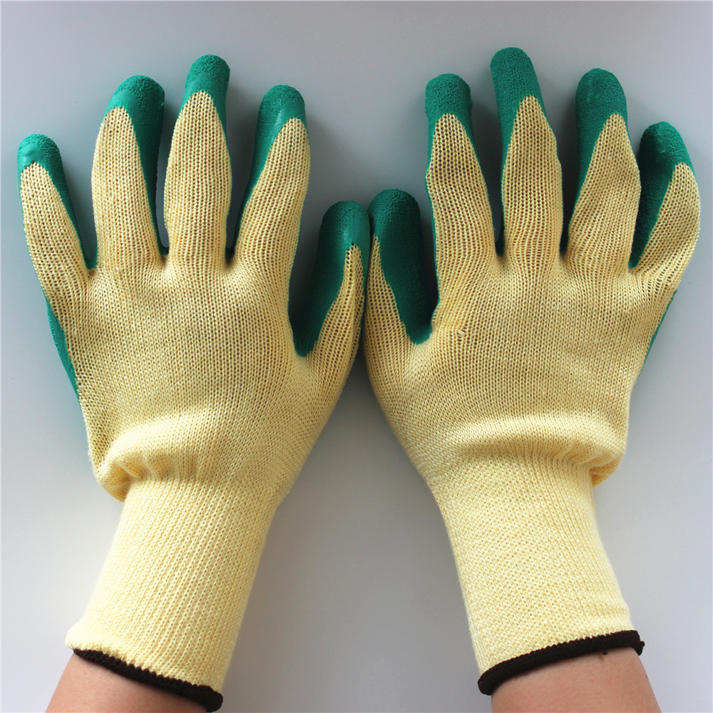 Crinkle yellow yarn knit safety industrial insulated latex dipped glove for machine repairing