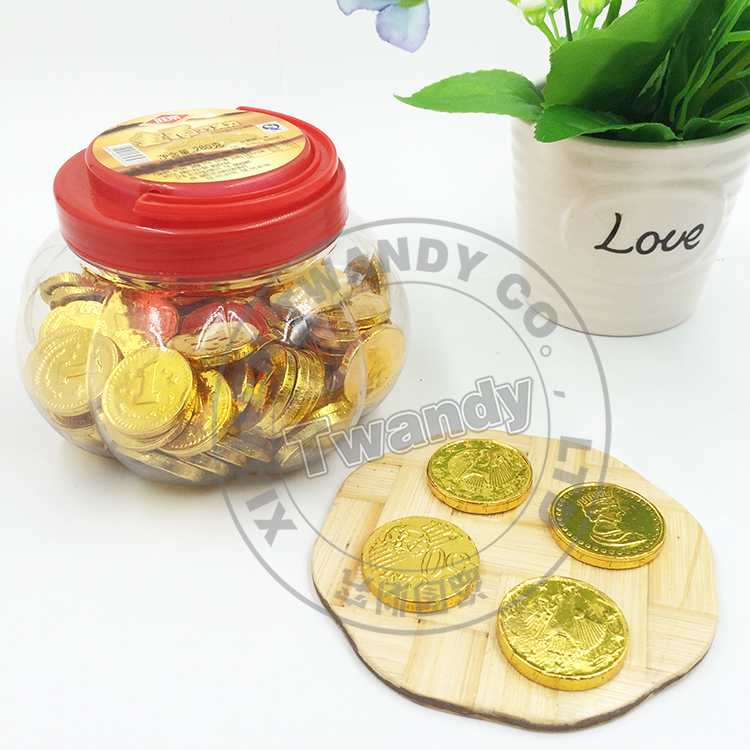 6g halal food sweets golden coin chocolate in plastic Jar