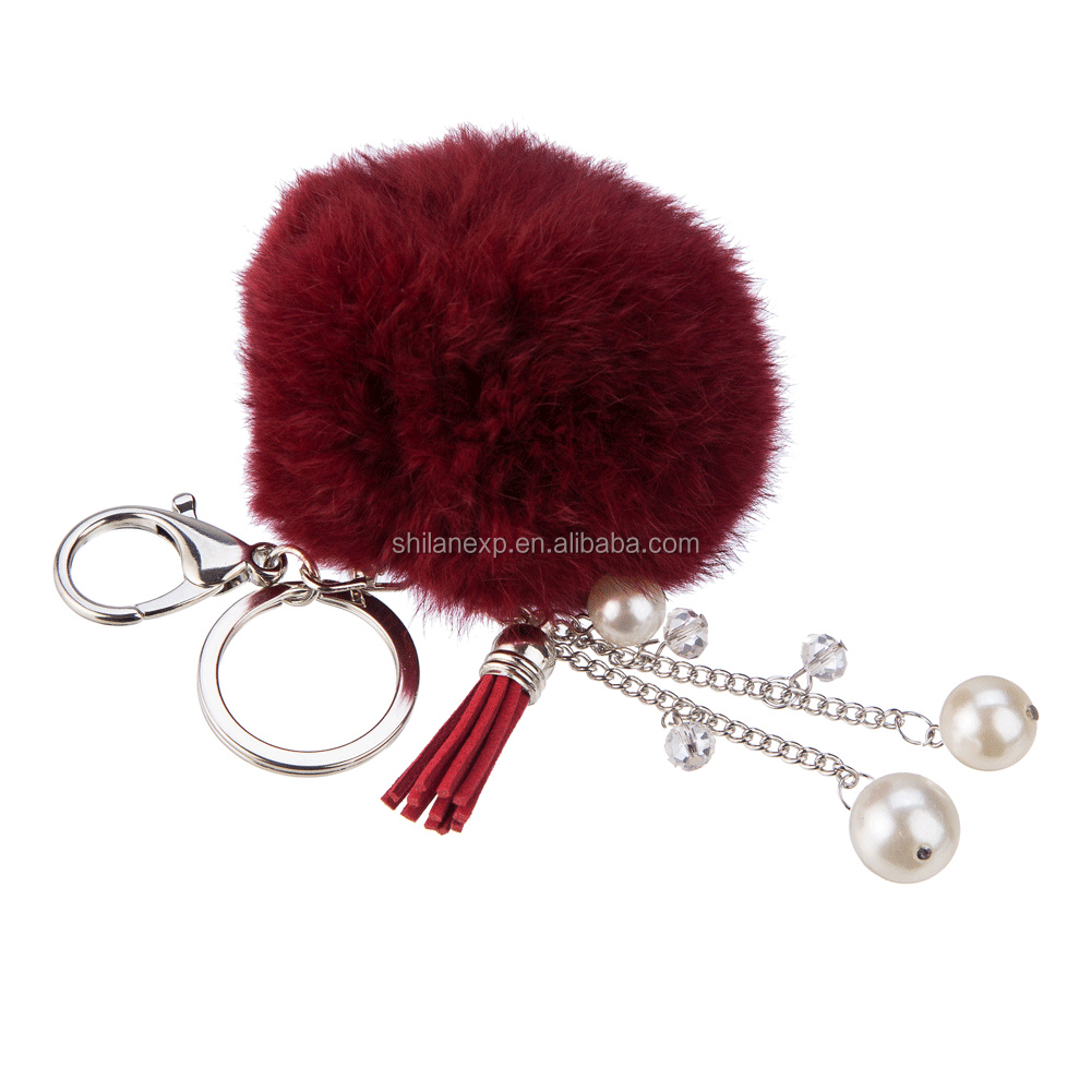 Real Rabbit Fur Ball 8cm Pompom Keychain Car Keyring Rabbit Fur Ball Keychain Fur Brand Pompons Bag Charms With Chains Keyring