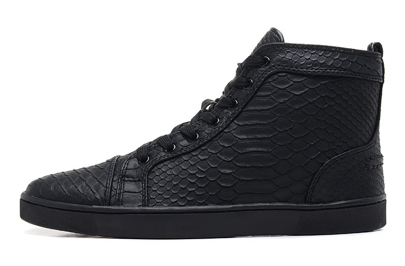 c47f7a005c4 Size:36-46 Black Snake Leather High Top Red Bottom Fashion Sneakers ...