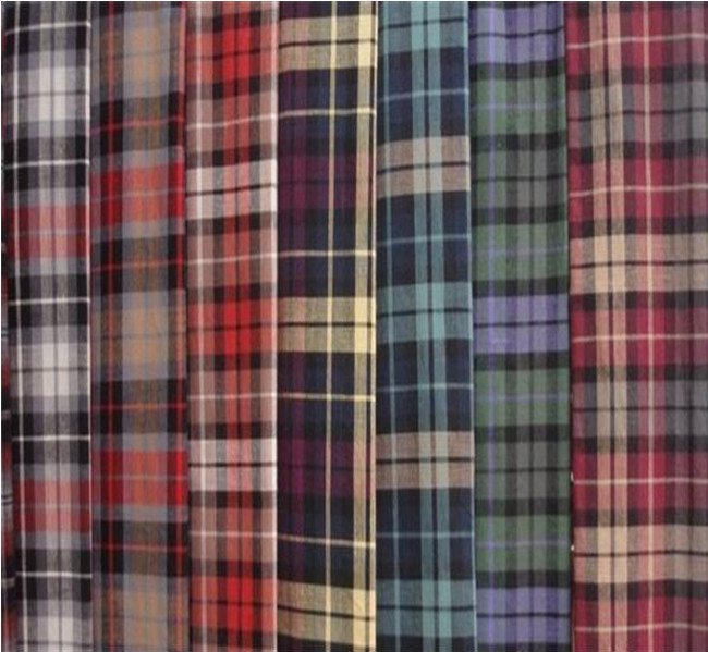 Polyester cotton blend yarn dyed plaid flannel raised for Cotton polyester flannel shirts