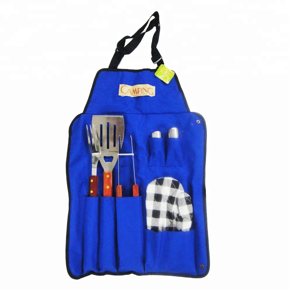 6 bbq grill charcoal Tools Set with Apron, wooden handle
