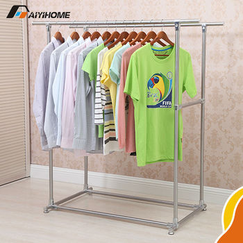 Heavy Duty Double Rail Adjustable Telescopic Rolling Clothing And Garment  Rack, High Quality Garment Rack