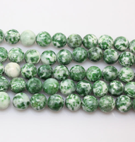high quality 8mm Natural green points jade beads strand