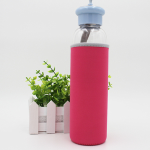500ML amazon hot sell close cover mini glass water bottle with red cloth