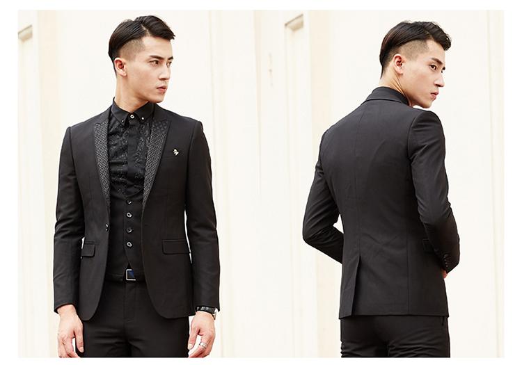Modern Style Lapel Design All Black Skinny Tuxedo Suit Wedding - Buy ...
