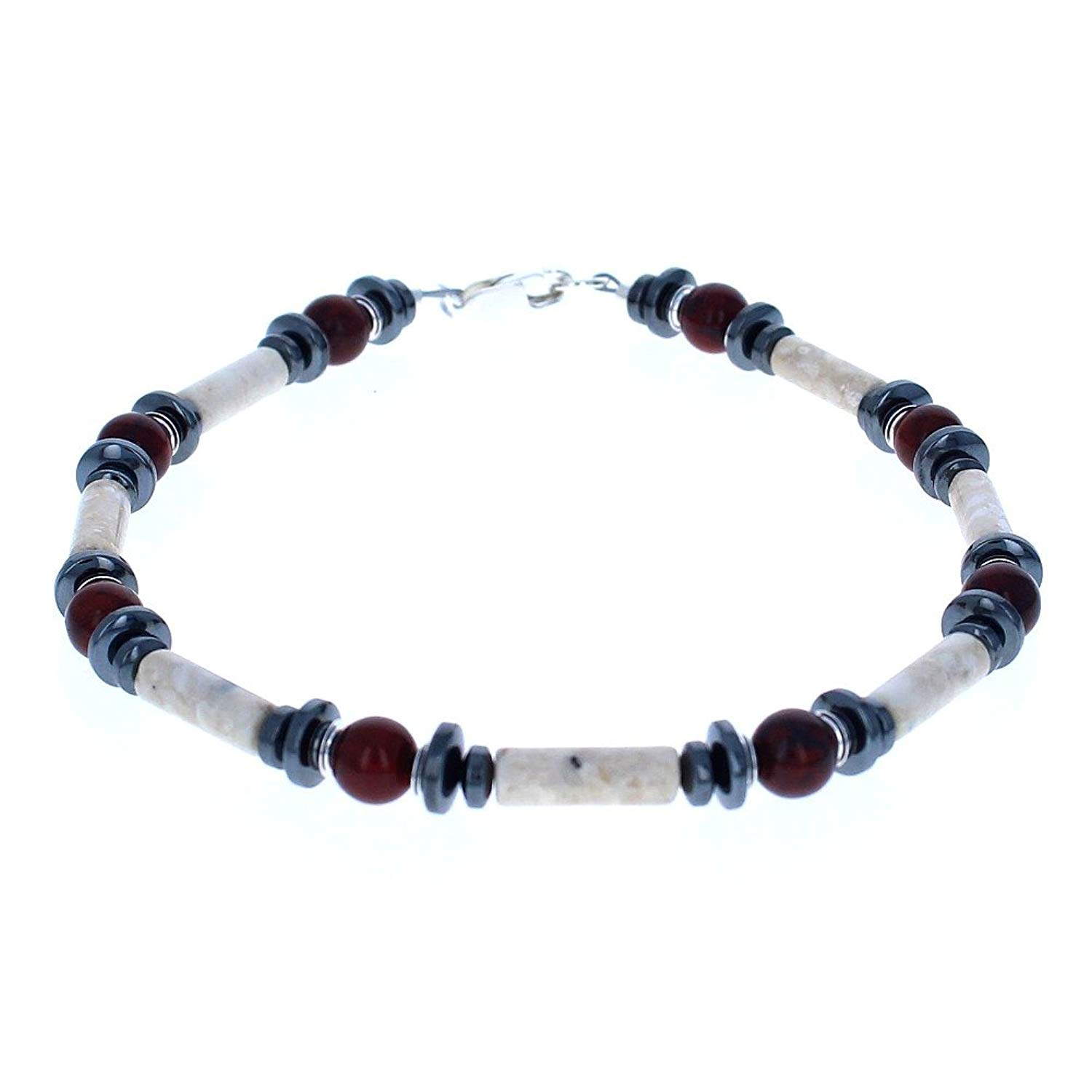 Timeless-Treasures Womens Brecciated Jasper, Riverstone, Hematite (Hemalyke) & Sterling Ladies Beaded Gemstone Anklet