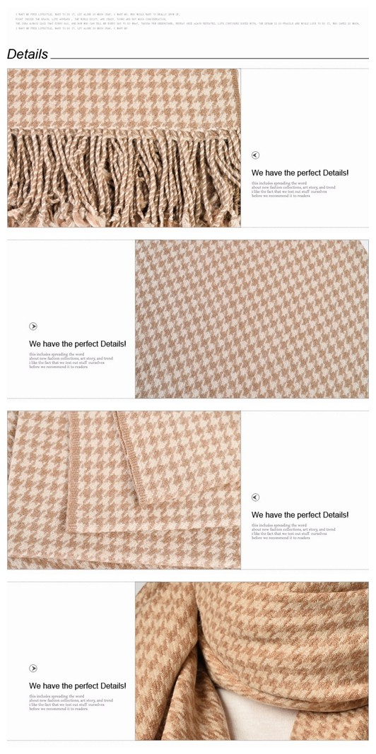 warm and beautiful houndstooth Camel Wool throw Blanket