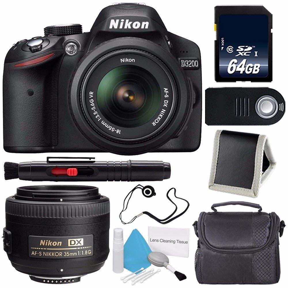 Nikon D3200 Digital Camera w/ 18-55 VR II Lens (International Model No Warranty) + Nikon AF-S DX NIKKOR 35mm f/1.8G Lens + 64GB SDXC Class 10 Memory Card Bundle 81