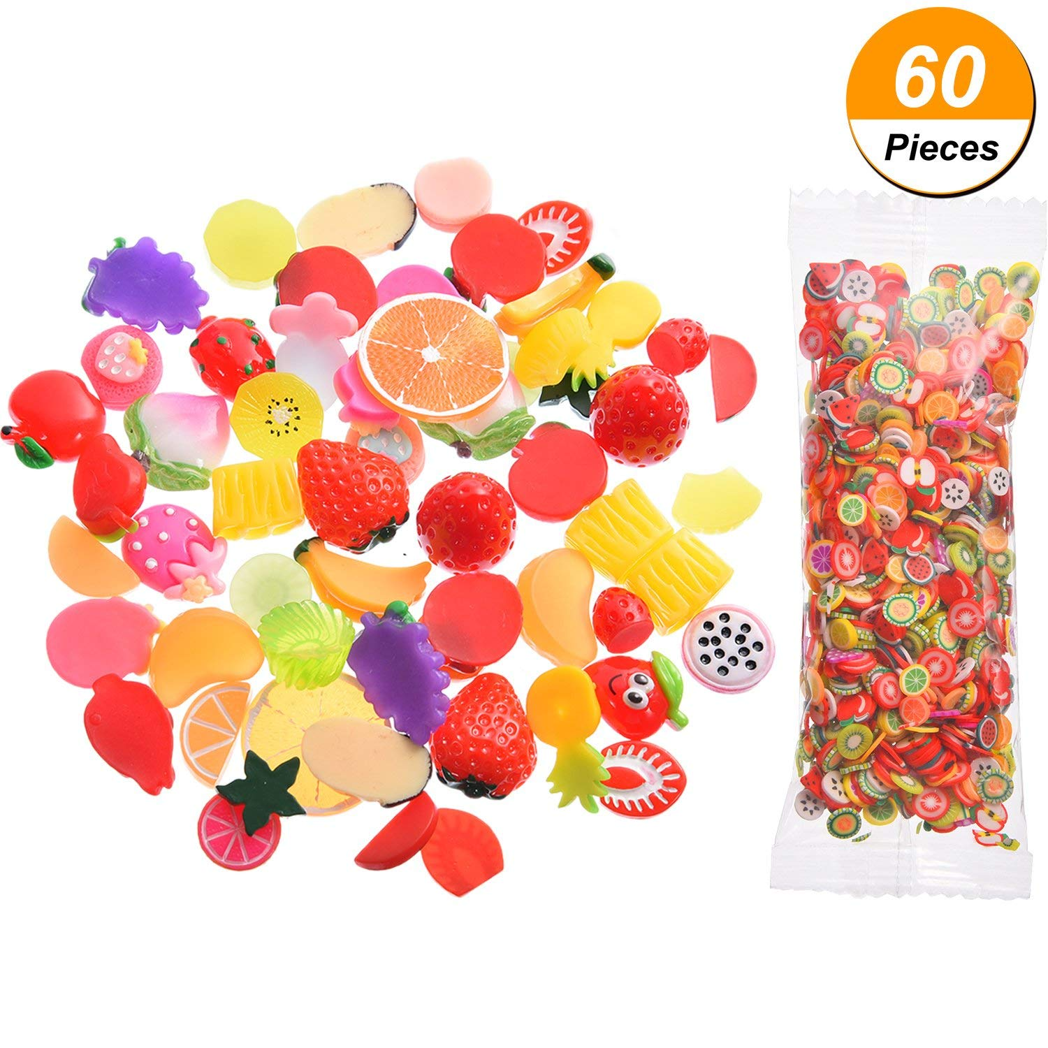 Bememo 60 Pieces Assorted Fruits Slime Charms Fruit Slime Beads Set with 1000 Pieces Fruit Slices for DIY Crafts