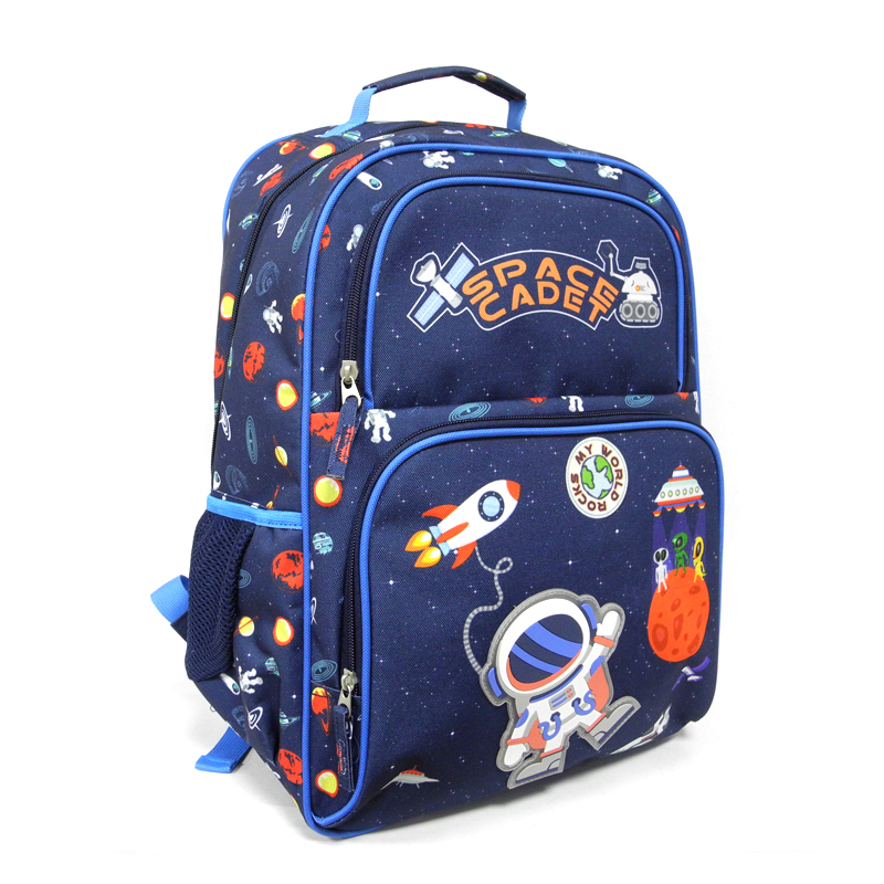 Hot selling 3D cartoon polyester outer space jongen schooltas voor kinderen