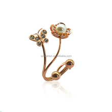 latest gold ring butterfly with diamond and flower with pearl shaped new design hot sale trend ring