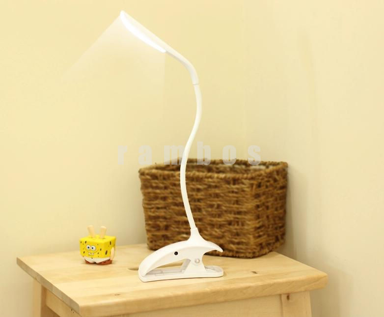 Led Flexible Reading Light Clip-on Beside Bed Table Desk Lamp With ...