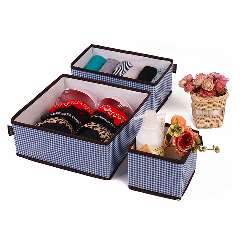 3pcs/lot new product High-grade blue plaid Home Non-woven Folding storage boxes for underwear bra sock organizer
