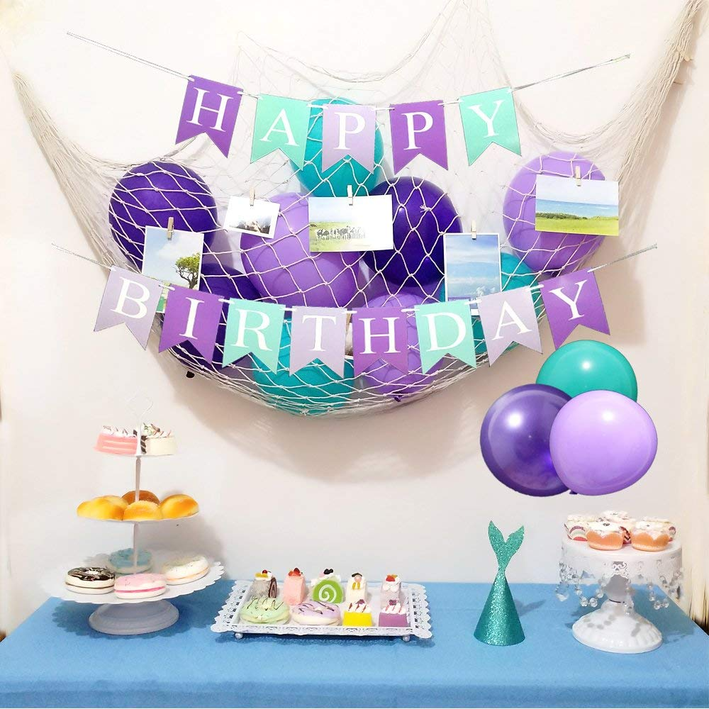 Get Quotations Mermaid Theme Birthday Party Decorations Under The Sea Supplies 33 Pieces