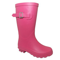 Rubber kids brand rain boots with pink printing for kids
