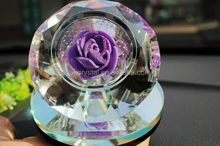 Wholesale crystal home decoration type, transparent decorative large crystal glass diamond with perfume base