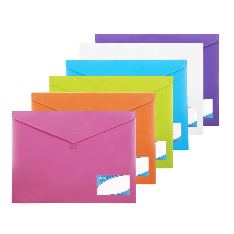 Foolscap A4 Double Pocket Plastic Filing Envelopes with Name Card Holder