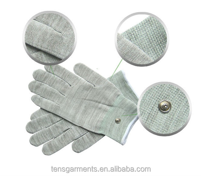 silver fiber fabric tens massage gloves for hand pain relief