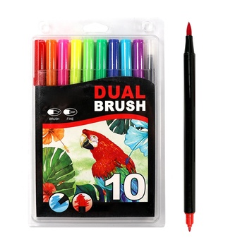 10 Pack Artist Marker And Fine Water Color Dual Tip Brush Pens
