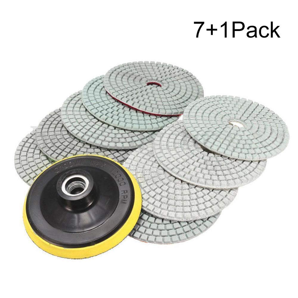 "Massun Diamond Polishing Pads,concrete polishing pads 4 inch Wet/Dry 7 Piece Set with Rubber backer Pad Arbor 5/8"" 11 for Granite, Stone, Marble, Travertine (Grit 50-3000)"
