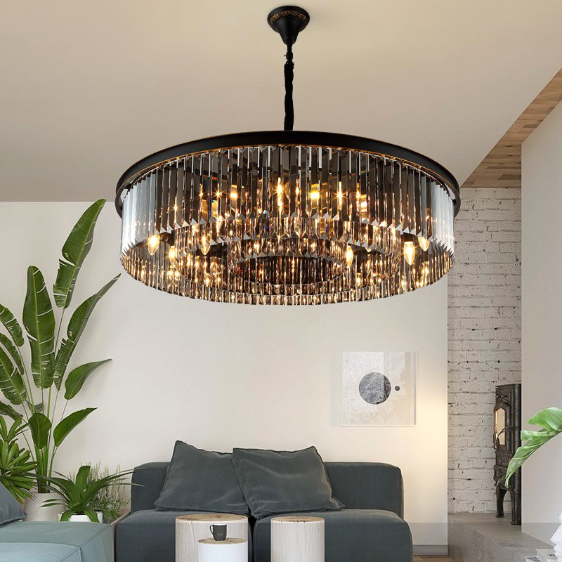 2019 Newest Design big black round luxury asfour pendant lamp restaurant living room classic crystal chandeliers ceiling