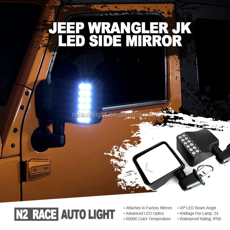Latest designed Black Door Side Mirror Kit Both Sides fits Jeep Wrangler