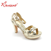 Hot Sale Womens Thick High Heel Pumps Shoes Fancy Ladies Bridal Gold Sandal For Party