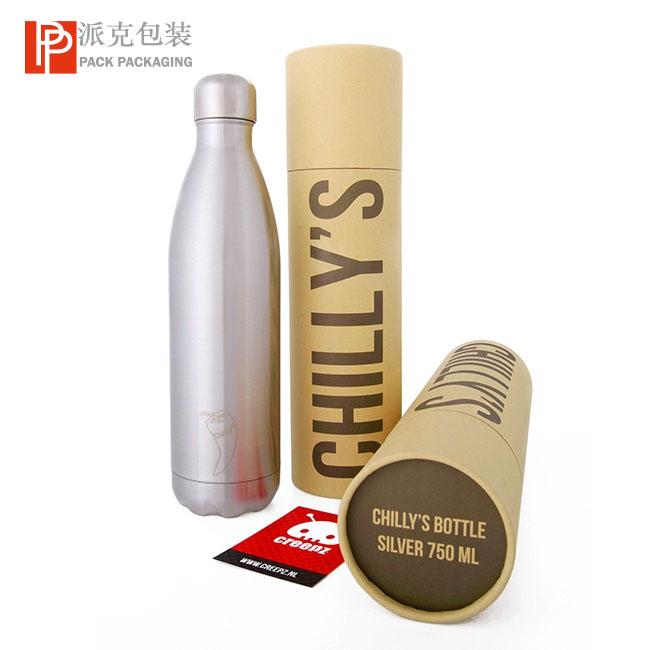 Kraft Cardboard Fancy Water Bottle Paper Tube Packaging Round Box Water Bottle / Wine Jar / Wine Cup Paper Tube
