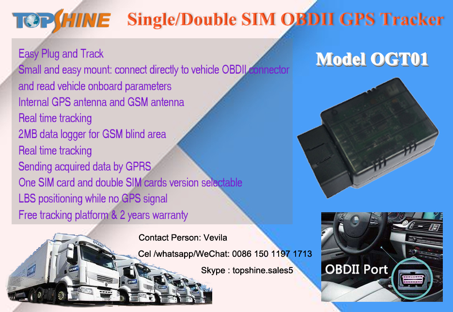 Small easy install OBD II GPS tracker with on board diagnostic parameter reading