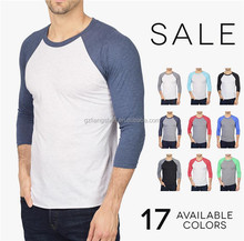Factory OEM Raglan Tri Blend Plain Tee Baseball T Shirt 3 4 Sleeve Wholesale Tshirts Cotton Sport T Shirt Men